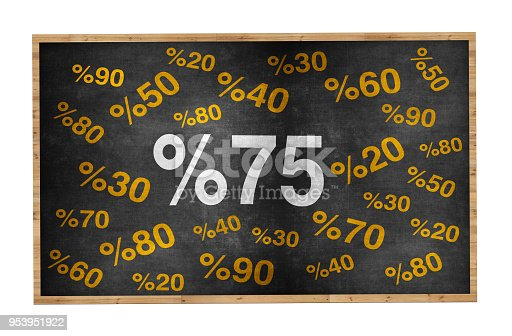 511190632 istock photo 20 percent discount. Blackboard with text '20%'. 953951922