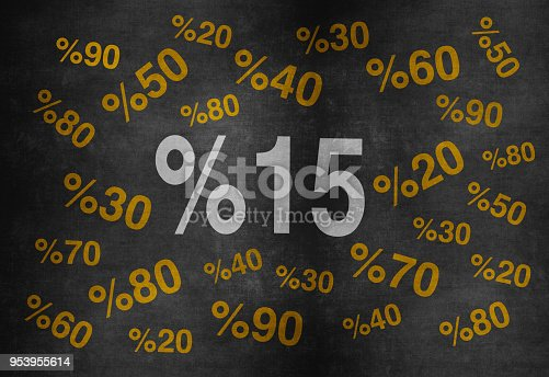 511190632 istock photo 20 percent discount. Blackboard with text '20%'. 953955614