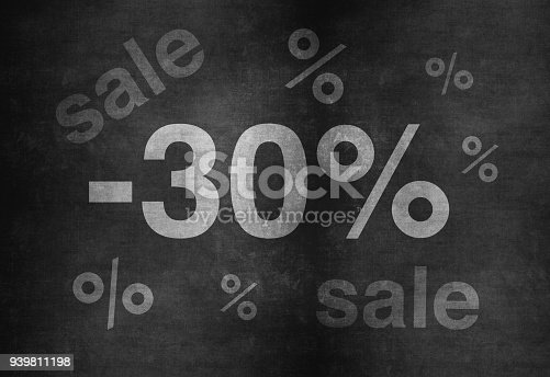 511190632 istock photo 30 percent discount. Blackboard with text '30%'. 939811198