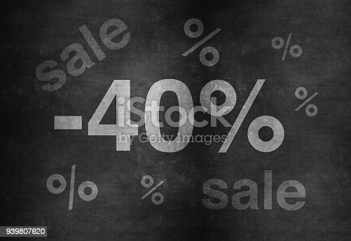 511190632 istock photo 40 percent discount. Blackboard with text '40%'. 939807620