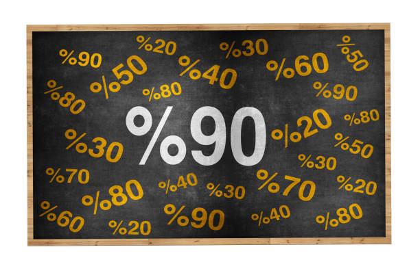 90 percent discount. blackboard with text '90%'. - number 90 stock photos and pictures