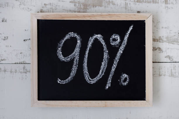 "90 percent discount. blackboard with text ""90%"". special offer - number 90 stock photos and pictures"