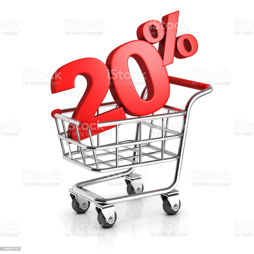 20 percent discount in shopping cart 3d  isolated illustration stock photo