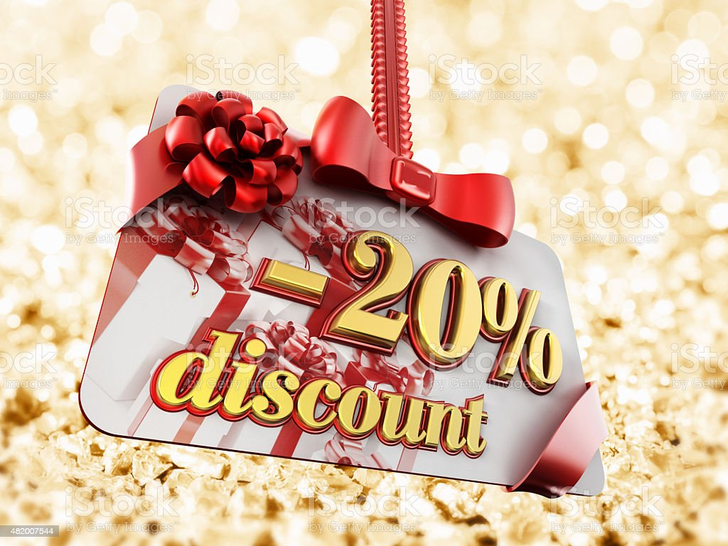 20 percent discount label on gold background stock photo