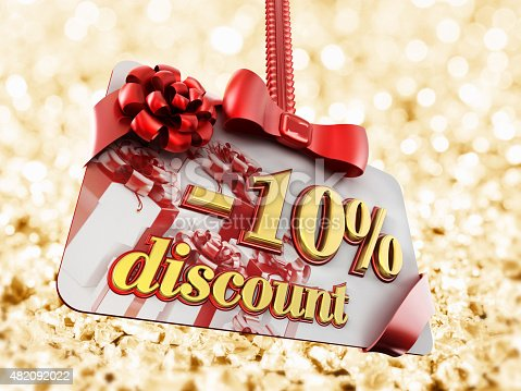 10 percent discount label on gold background.