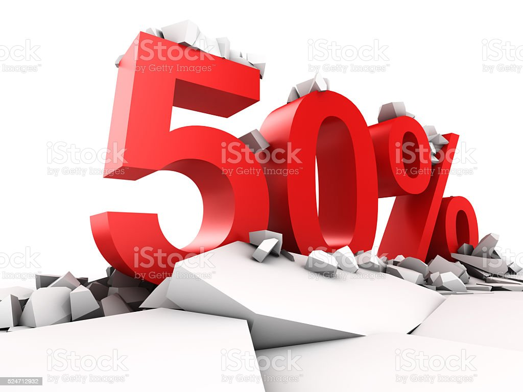 50 percent discount stock photo