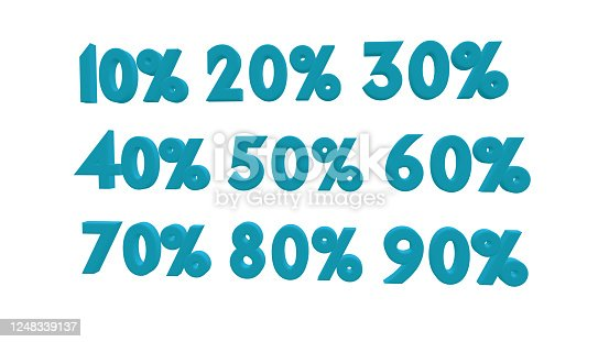 istock Percent discount sale promotion off 3d rendered isolated on white background 10 20 30 40 and 50 60 70 80 90percent off 1248339137