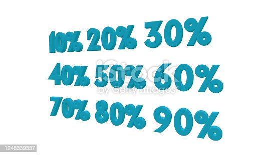 istock Percent discount sale promotion off 3d rendered isolated on white background 10 20 30 40 and 50 60 70 80 90percent off 1248339337