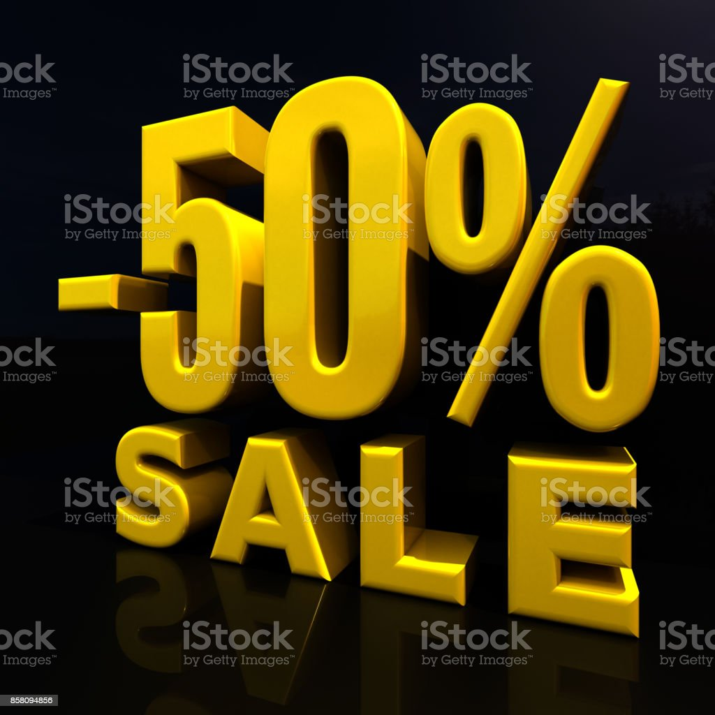 Percent Discount Sign, Sale Up to 50 stock photo