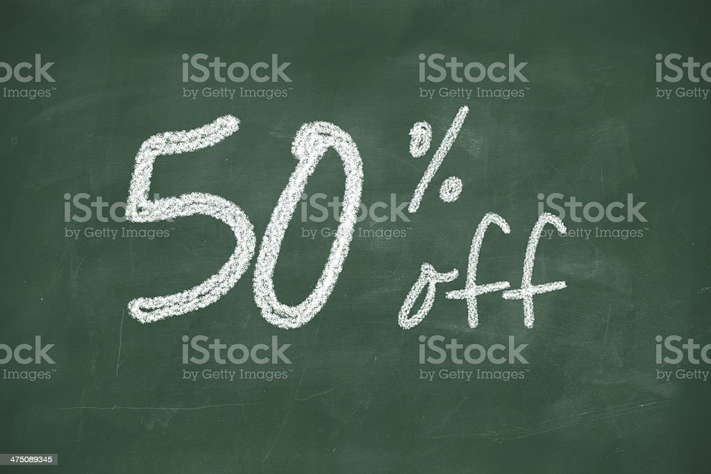 50 percent discount sign written with chalk stock photo