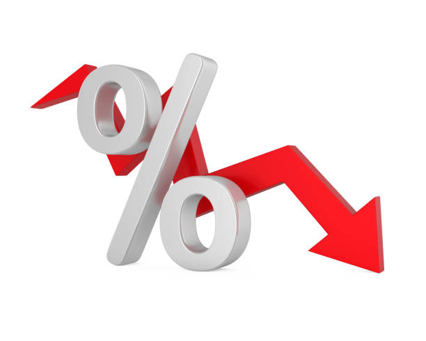 percent down arrow - interest rate stock photos and pictures