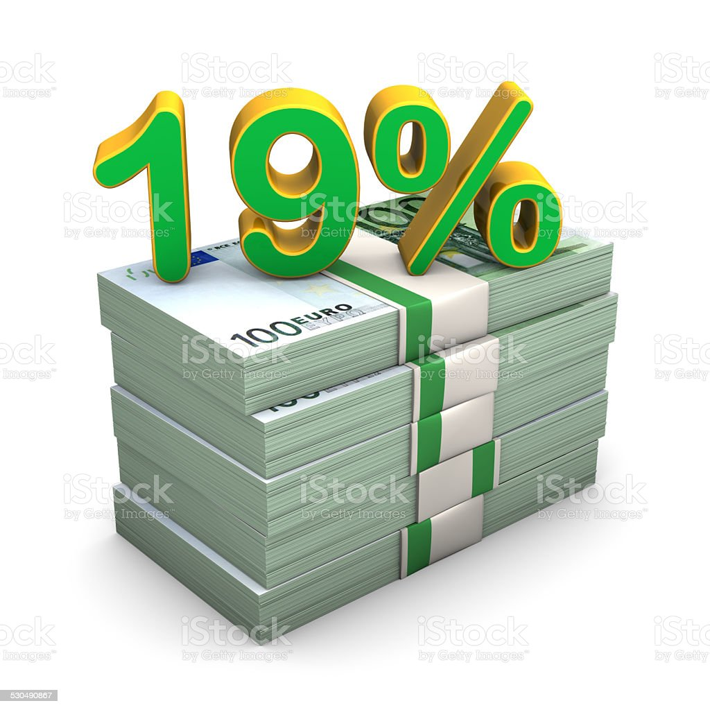 19 Percent Euro stock photo
