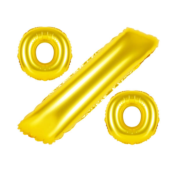 percent from golden balloons stock photo
