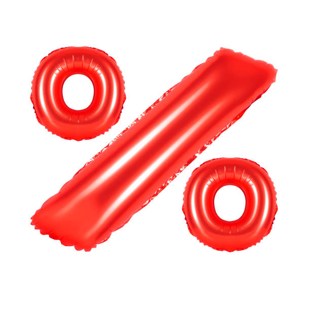 percent from red balloons stock photo