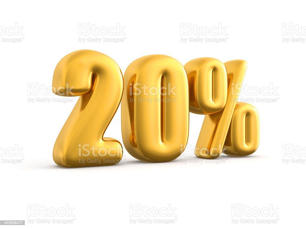 20 Percent gold, 3d render illustration. stock photo