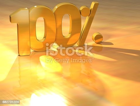674991658 istock photo 3D 100 Percent Gold Text 682731224