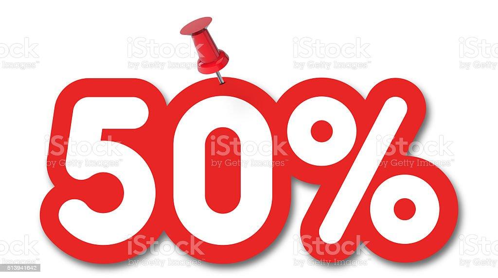 50 por cento a etiqueta presa em um fundo branco - foto de acervo