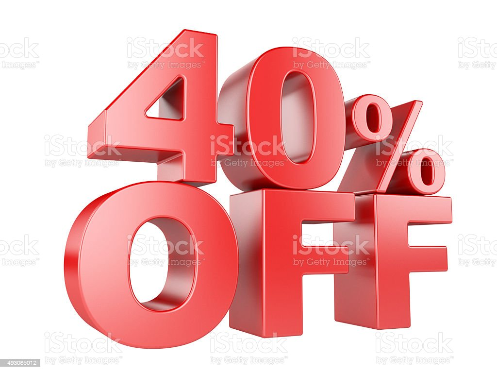 40 percent off 3d icon. stock photo