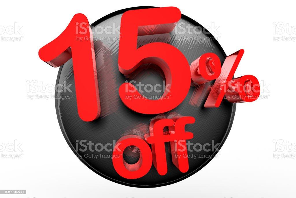 15 percent off 3D. stock photo