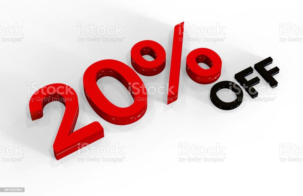 20 Percent Off, 3D Text stock photo