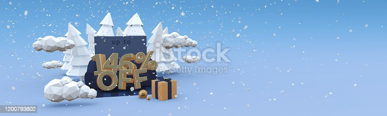 1166441358 istock photo 146 percent off - 3D-illustration in cartoon style. Horizontal 3D-banner with copy space. Crazy winter sale concept. 1200793802
