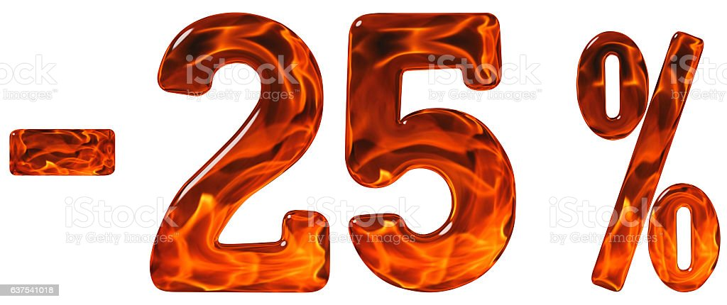 Percent off. Discount. Minus 25, twenty five  percent, numerals stock photo