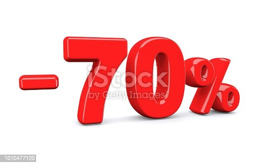 istock 70 percent off discount sign. Red text is isolated on white. 1010477120