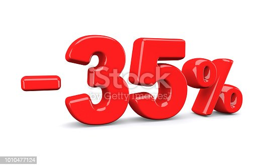 istock 35 percent off discount sign. Red text is isolated on white. 1010477124