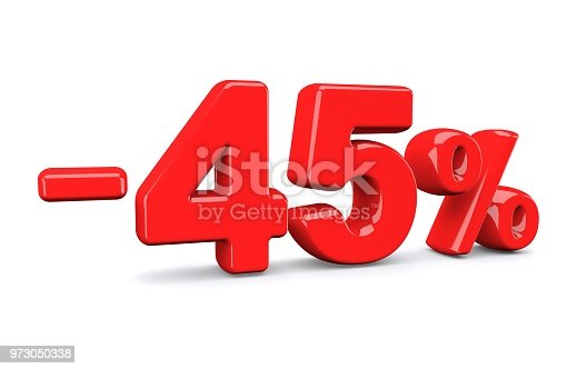 istock 45 percent off discount sign. Red text is isolated on white. 973050338