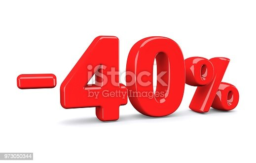 istock 40 percent off discount sign. Red text is isolated on white. 973050344