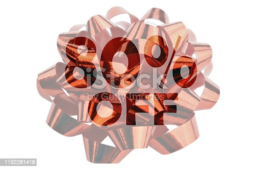 80 percent off highlighted against the backdrop of a red gift bend - isolated on white
