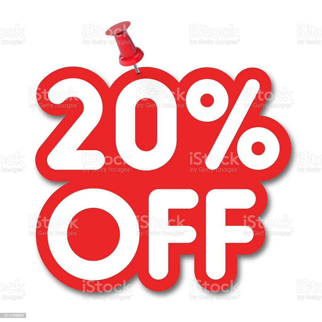 20 percent off label pinned on a white background stock photo