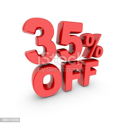 istock 35 percent off promotion. Discount sign. Red text is isolated on white. 950410250