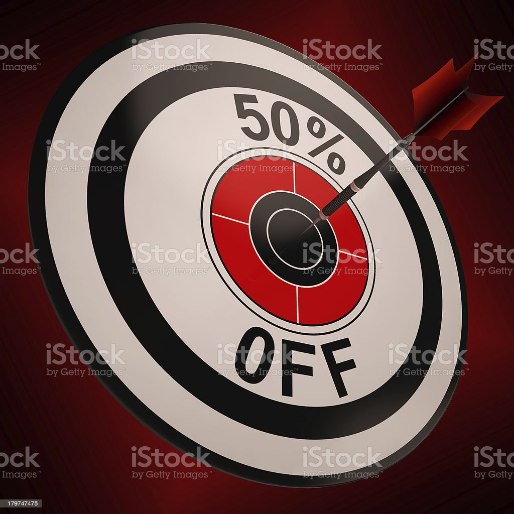 50 Percent Off Shows Markdown Bargain Advertisement stock photo