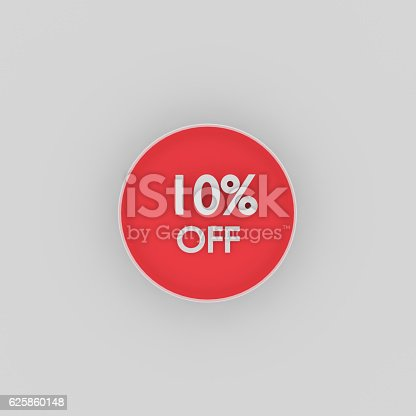 3d rendering of TEN  percent  off words on red plate