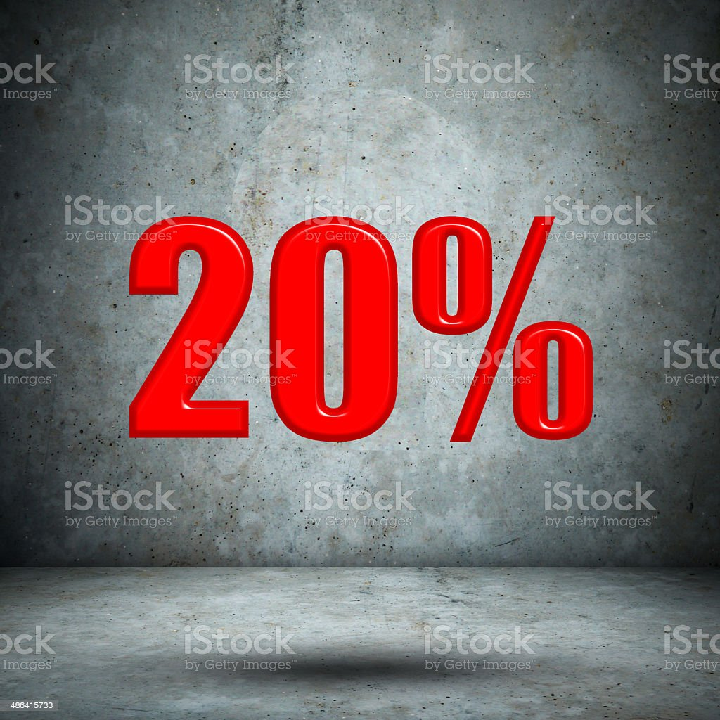 20 percent on concrete wall royalty-free stock photo
