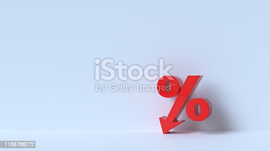 Percent on white background.
