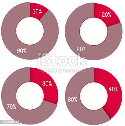 istock 10 20 30 40 90 80 70 60 percent pie charts isolated. Percentage infographic symbol set. 3d render circle diagram signs. Business icon illustrations for marketing project 690005136