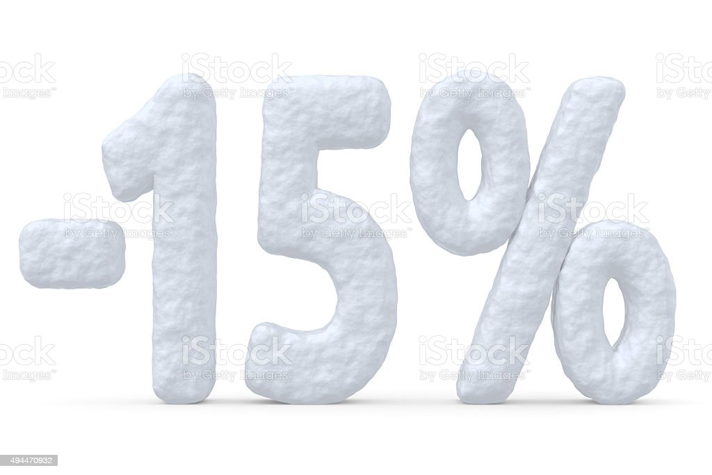 15 percent price cut off christmas offer stock photo