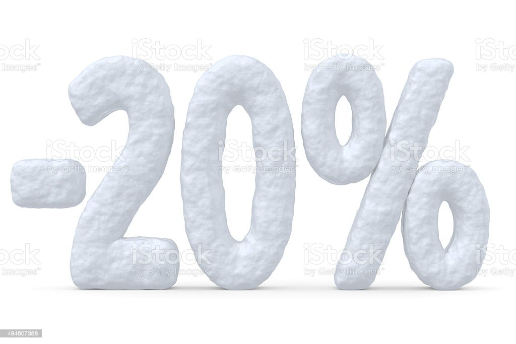 20 percent price cut off christmas offer stock photo