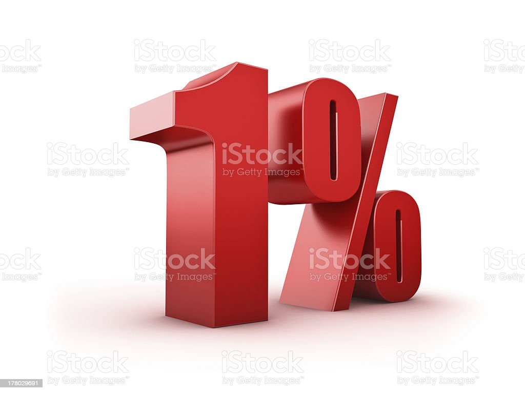 1 percent red 3D rendering on white background stock photo