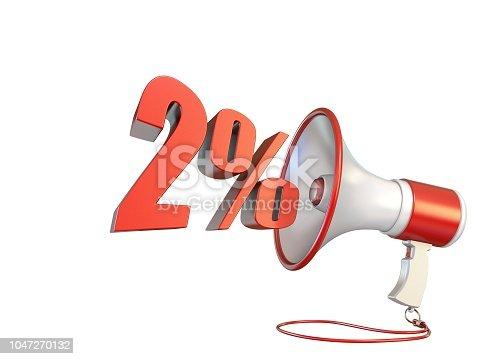 istock 2 percent sign and megaphone 3D 1047270132