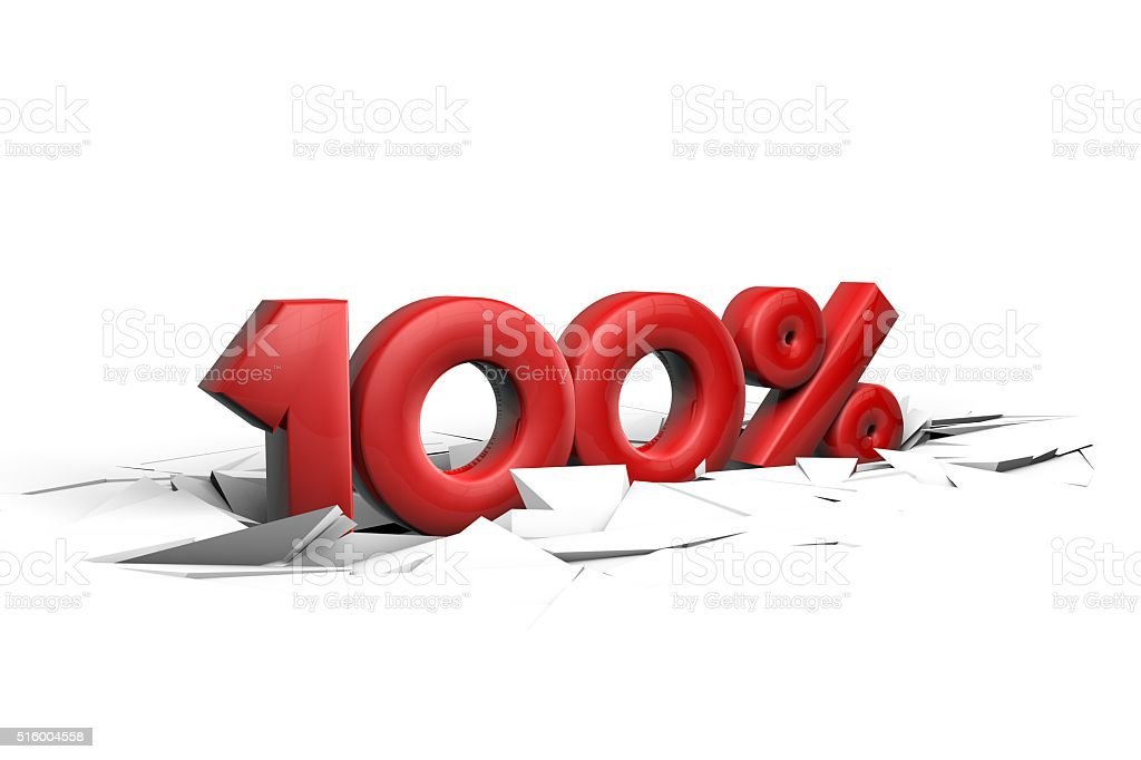 100 Percent sign breaking through a white floor stock photo