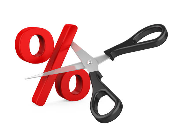Percent Sign Cut and Scissors Isolated Percent Sign Cut and Scissors isolated on white background. 3D render interest rate stock pictures, royalty-free photos & images
