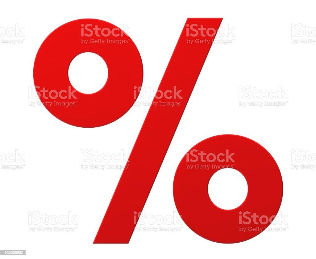 Prozentzeichen Rabatt Zeichen Verkauf Symbol 3d Rote Flache Vorlage