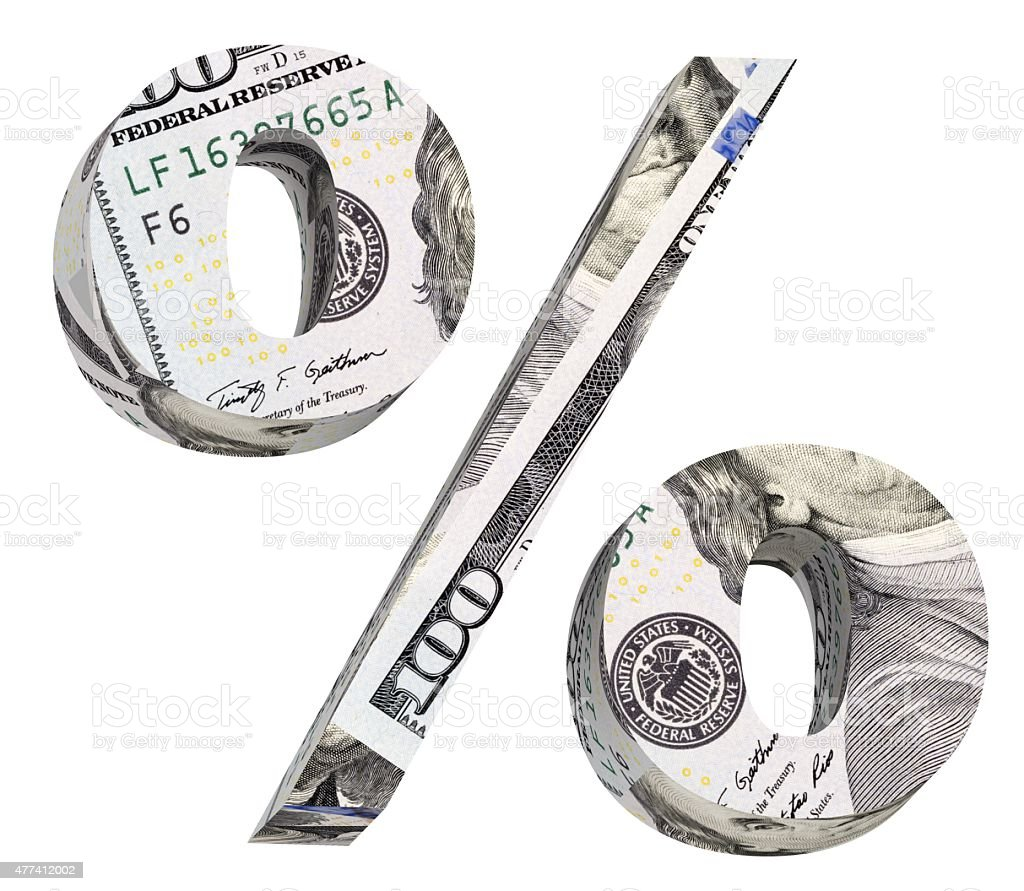 Percent sign from dollar bill alphabet set isolated over white. stock photo