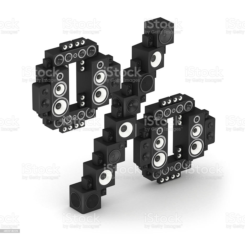Percent sign from speaker in isometry stock photo