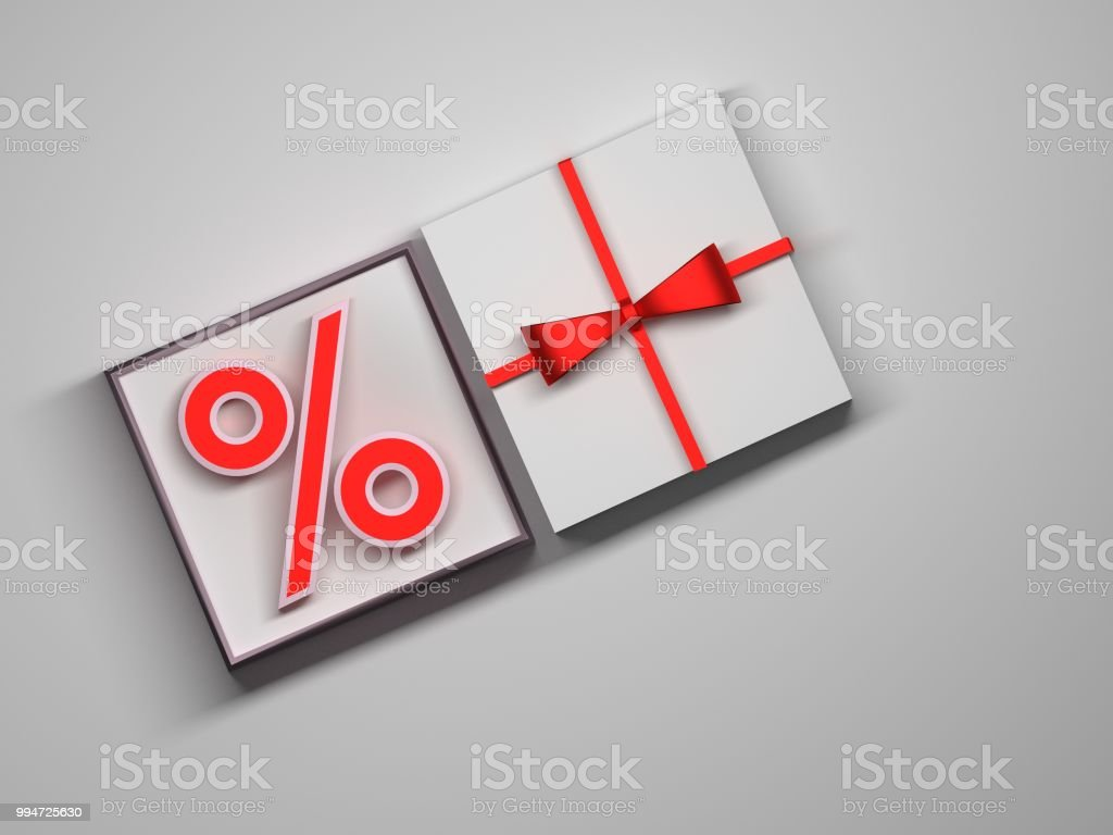 Percent sign in a white gift box stock photo