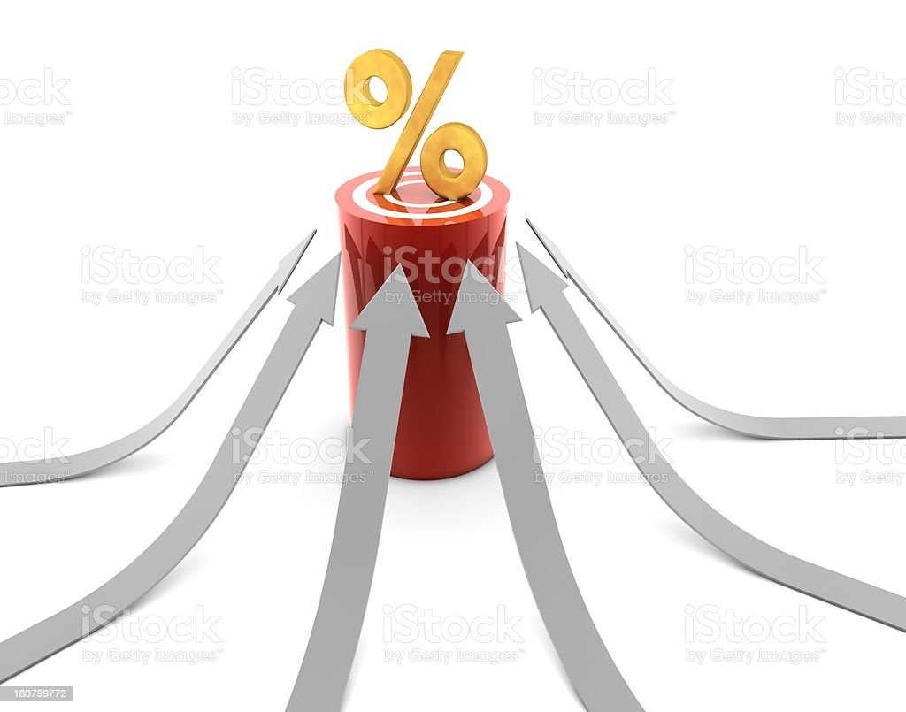 Percent Sign on Target royalty-free stock photo