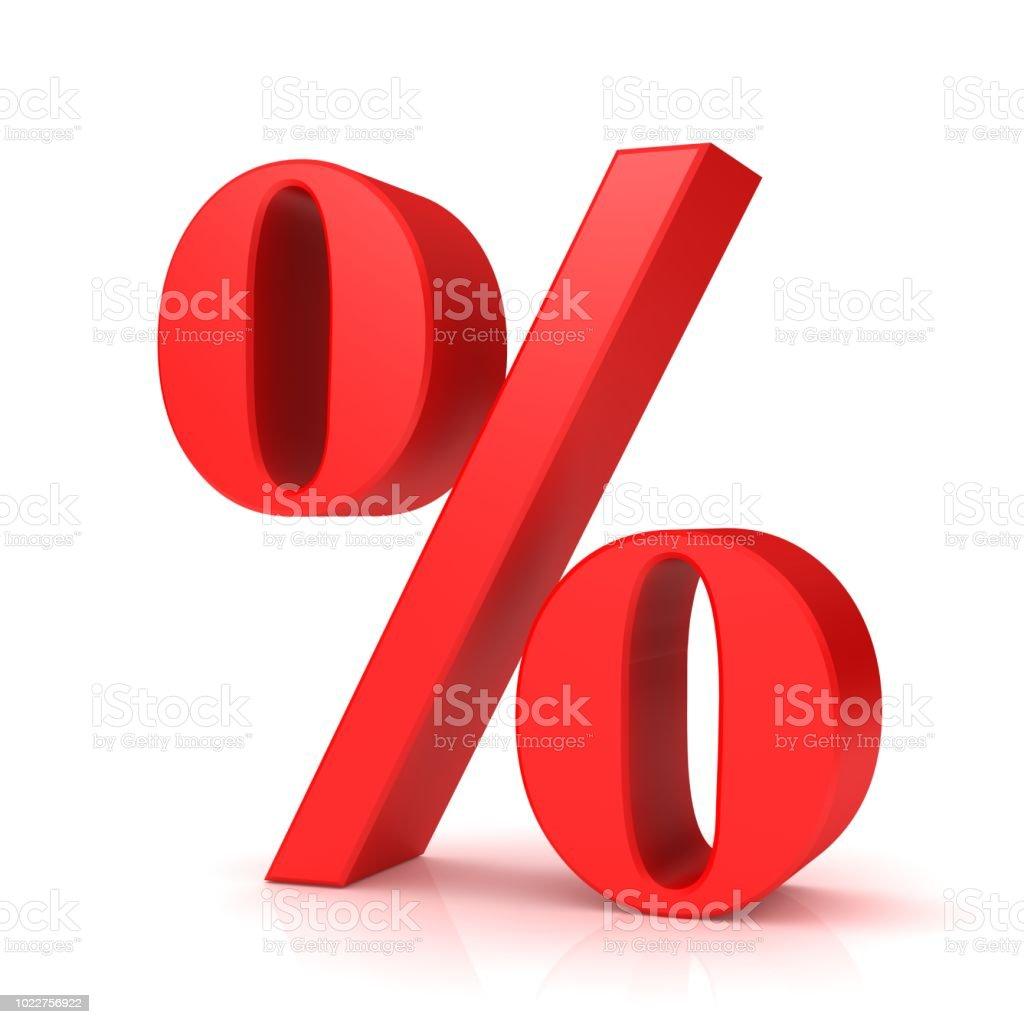 fa9872cd8 signo de porcentaje rojo 3d porcentaje descuento símbolo interés icono  aislado sobre fondo blanco foto de
